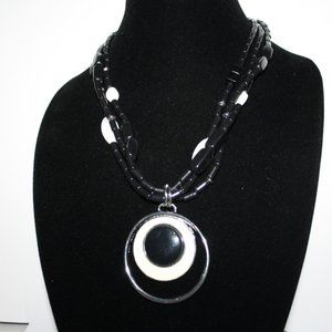 Black and cream mother of pearl Chico's Necklace